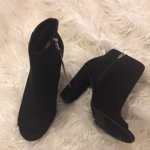 Merona Black Faux Suede Peep Toe Ankle Boots